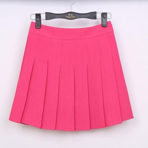 Pastel Half Pleated High Waist Mini Skirt [6 Colors] #JU1897-Rose Pink-S-Juku Store
