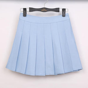 Pastel Half Pleated High Waist Mini Skirt [6 Colors] #JU1897-Sky Blue-S-Juku Store