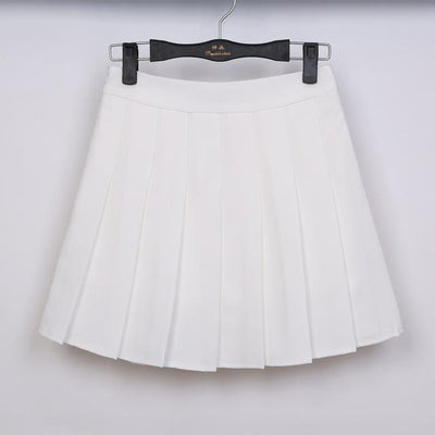 Pastel Half Pleated High Waist Mini Skirt [6 Colors] #JU1897-White-S-Juku Store