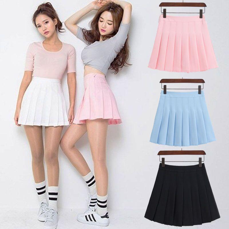 Pastel Half Pleated High Waist Mini Skirt [6 Colors] #JU1897
