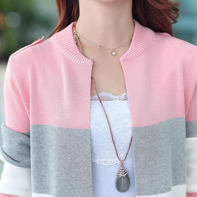 Pastel Striped Knitted Cardigan Rainbow Sweater #JU2529-Juku Store