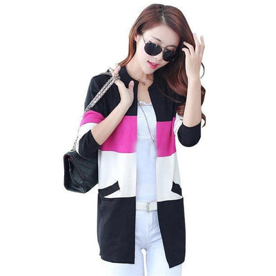 Pastel Striped Knitted Cardigan Rainbow Sweater #JU2529-Black-XXL-Juku Store