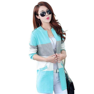 Pastel Striped Knitted Cardigan Rainbow Sweater #JU2529-Blue-XXL-Juku Store