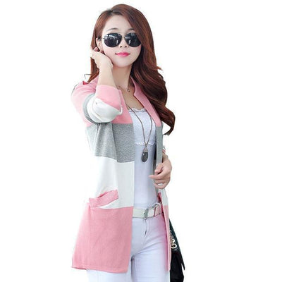 Pastel Striped Knitted Cardigan Rainbow Sweater #JU2529-Pink-XXL-Juku Store