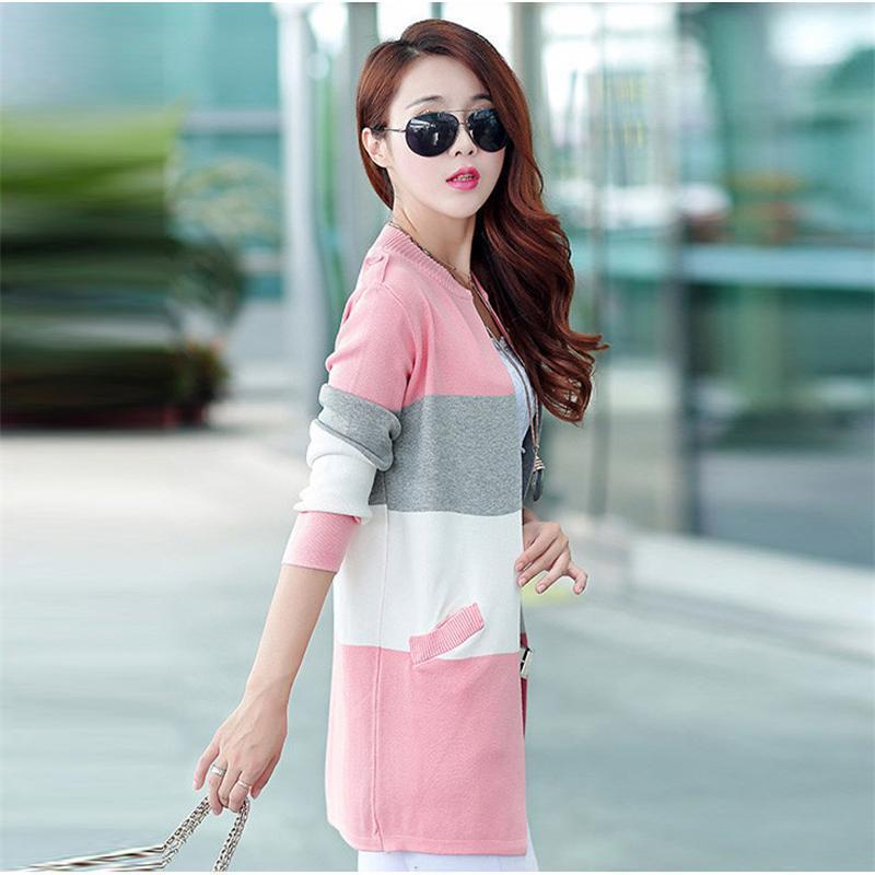 Pastel Striped Knitted Cardigan Rainbow Sweater #JU2529