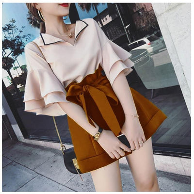 Petal Sleeve Top and Drawstring Short Kawaii Two Piece #JU2514-Juku Store