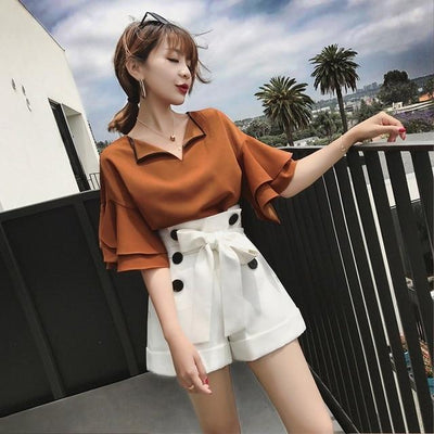 Petal Sleeve Top and Drawstring Short Kawaii Two Piece #JU2514-Brown/White-XL-Juku Store