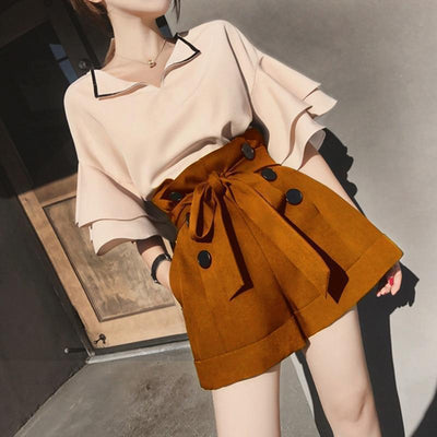 Petal Sleeve Top and Drawstring Short Kawaii Two Piece #JU2514-Pink/Brown-L-Juku Store