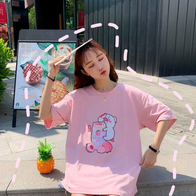 Pig Sipping Strawberry Milk T-Shirt Harajuku Cartoon Top #JU2479-Juku Store