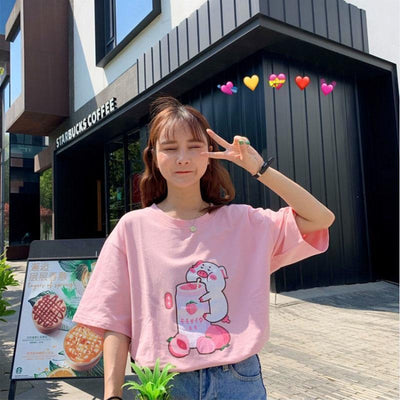 Pig Sipping Strawberry Milk T-Shirt Harajuku Cartoon Top #JU2479-Pink-S-Juku Store