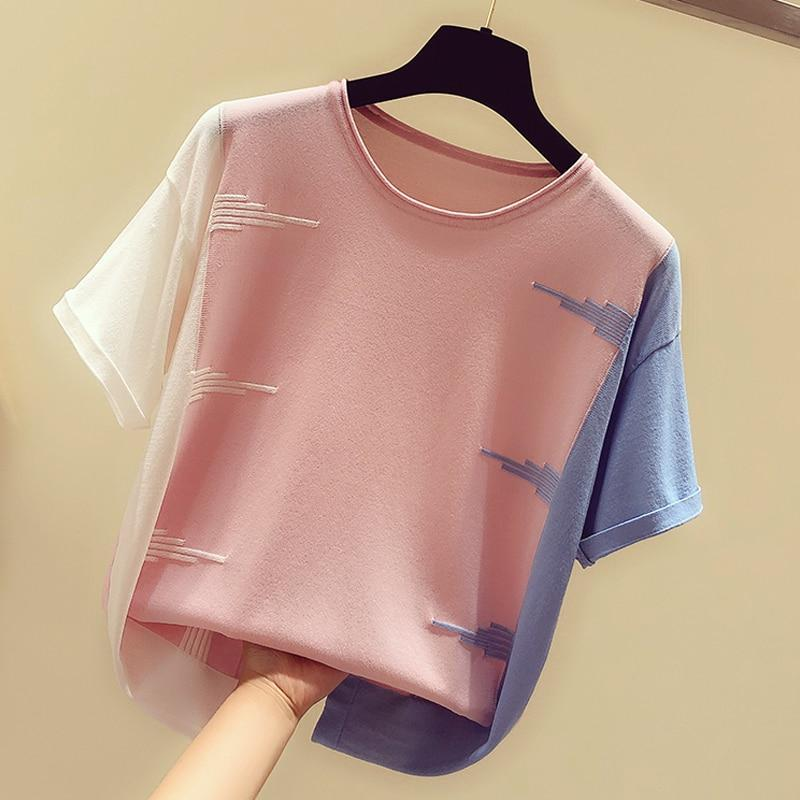 Pink O-Neck Thin Knitted T-Shirt Korean Casual Top #JU2967-Juku Store