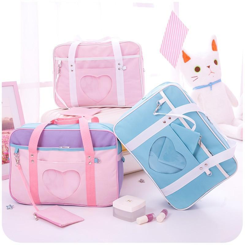 Pink Preppy Shoulder Bag Kawaii Canvas School Totes #JU2450-Juku Store