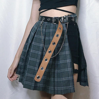 Plaid Gothic Asymmetric Mini Skirt And Belt #JU2080-One Size-Juku Store