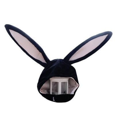 Plush Bunny Ears Head Warmer Kawaii Hat #JU2755-Black-Juku Store