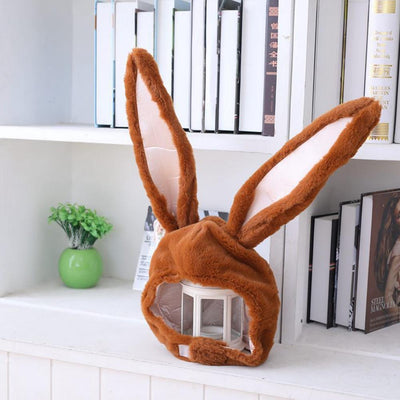 Plush Bunny Ears Head Warmer Kawaii Hat #JU2755-Brown-Juku Store