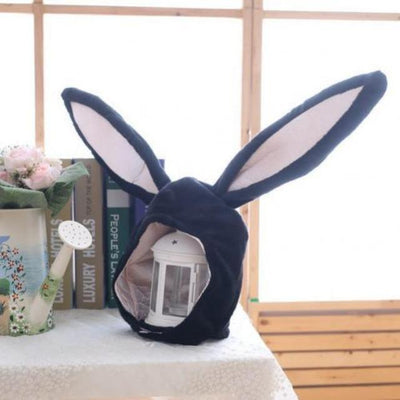 Plush Bunny Ears Head Warmer Kawaii Hat #JU2755-Navy Blue-Juku Store