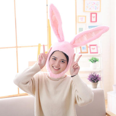 Plush Bunny Ears Head Warmer Kawaii Hat #JU2755-Pink-Juku Store