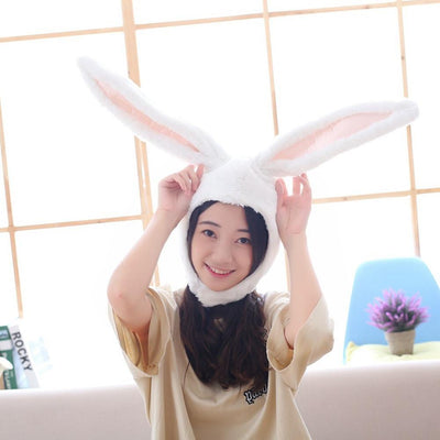 Plush Bunny Ears Head Warmer Kawaii Hat #JU2755-White-Juku Store
