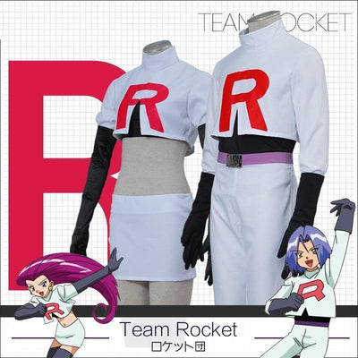 Pokemon Team Rocket Jessie And James Cosplay Costume Set [2 Styles] #JU2273-Juku Store