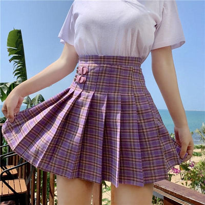 Preppy Pleated Mini Kawaii Short Skirt #JU2746-Juku Store