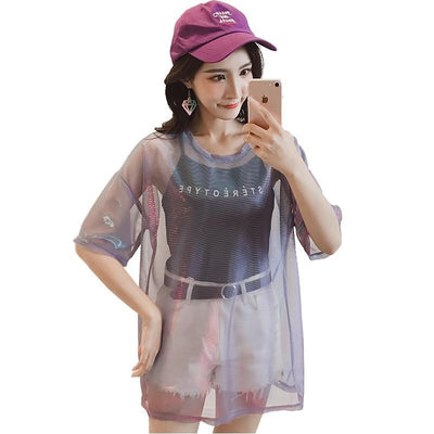 Purple Hollow Out Transparent T-Shirt Harajuku Top #JU2445-Juku Store