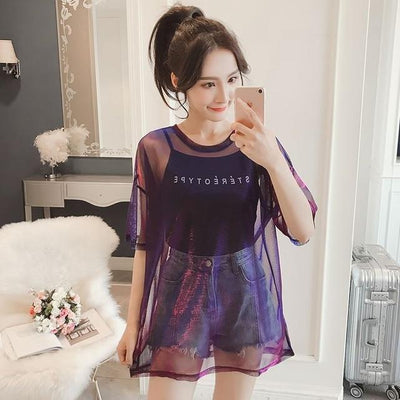 Purple Hollow Out Transparent T-Shirt Harajuku Top #JU2445-Purple-L-Juku Store