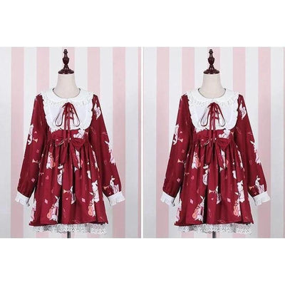 Rabbit Print Lolita Lace Dress Kawaii Princess #JU2550-Red Long Sleeves-S-Juku Store