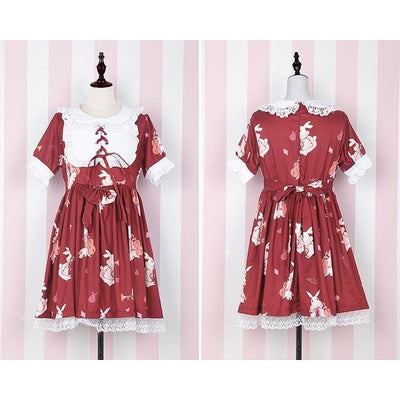 Rabbit Print Lolita Lace Dress Kawaii Princess #JU2550-Red Short Sleeves-S-Juku Store