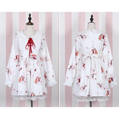 Rabbit Print Lolita Lace Dress Kawaii Princess #JU2550-White Long Sleeves-S-Juku Store