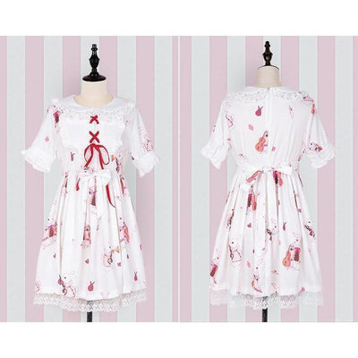 Rabbit Print Lolita Lace Dress Kawaii Princess #JU2550-White Short Sleeves-S-Juku Store