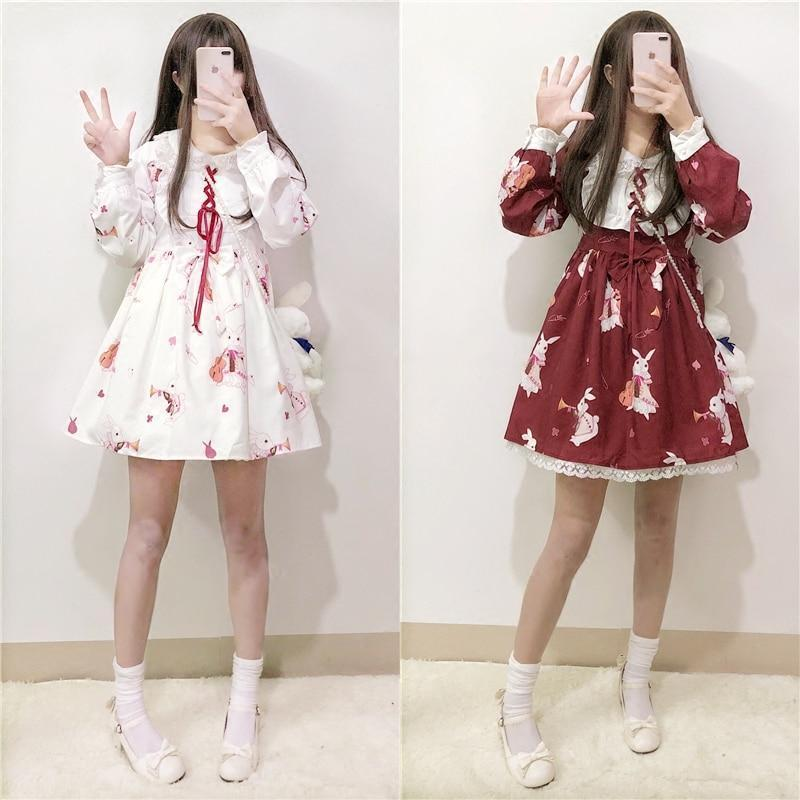 Rabbit Print Lolita Lace Dress Kawaii Princess #JU2550