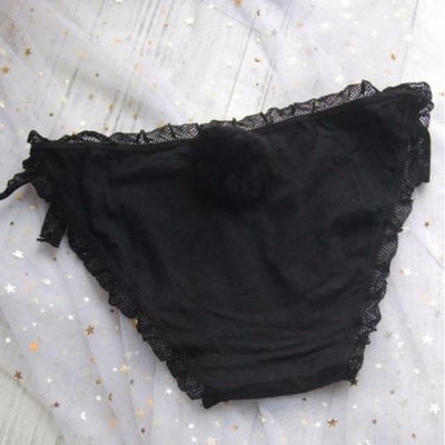 Rabbit Tail Side Tie Panties Kawaii Underwear #JU2398-Black Lace-Juku Store