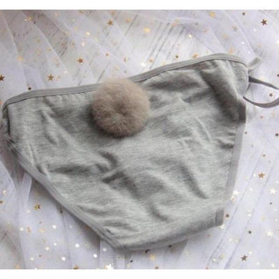 Rabbit Tail Side Tie Panties Kawaii Underwear #JU2398-Gray-Juku Store