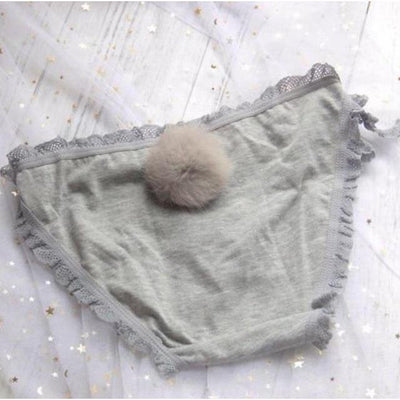 Rabbit Tail Side Tie Panties Kawaii Underwear #JU2398-Gray Lace-Juku Store