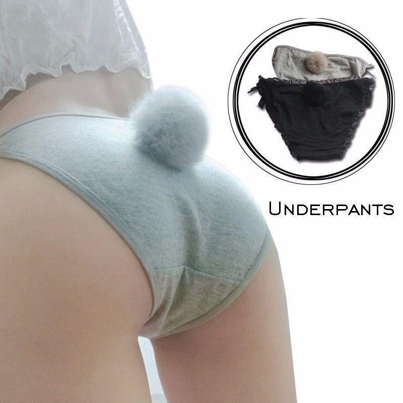 Rabbit Tail Side Tie Panties Kawaii Underwear #JU2398-Juku Store