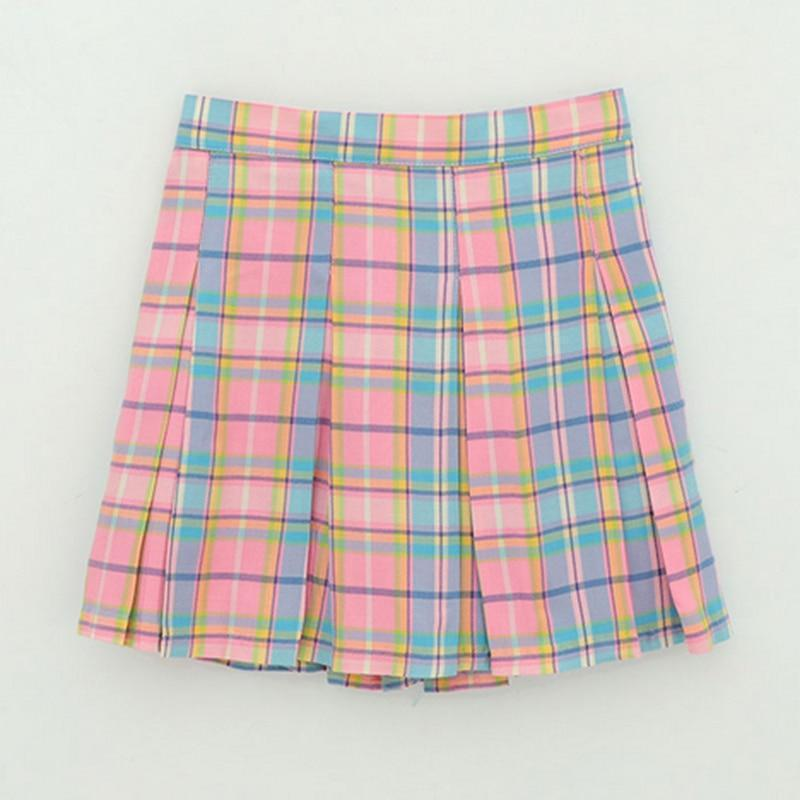 Rainbow Plaid Skirt Harajuku High Waist Mini #JU2403-Juku Store