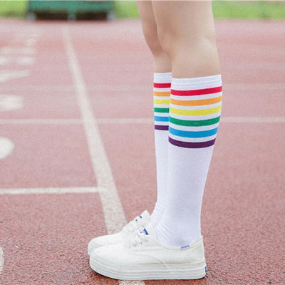 Rainbow Striped Knee High Socks [2 Colors] #JU2382-Juku Store