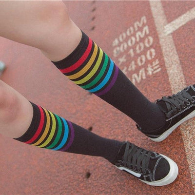 Rainbow Striped Knee High Socks [2 Colors] #JU2382-Black-Juku Store
