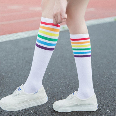 Rainbow Striped Knee High Socks [2 Colors] #JU2382-White-Juku Store