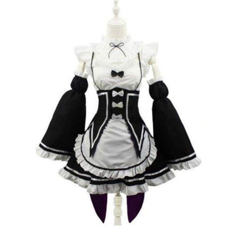 Ram/Rem Cosplay Maid Dress Costume Set Re:Zero Life In a Different World From Zero #JU1948-XXL-Juku Store