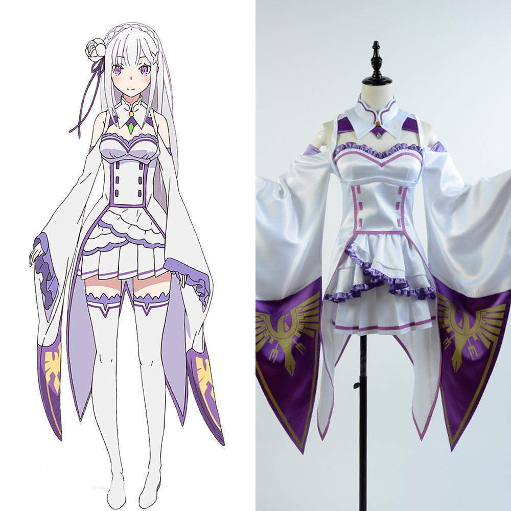(RARE!) Re:Zero Emilia Cosplay Costume Set #JU1947-XS-Juku Store