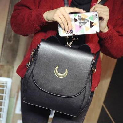 Rare Sailor Moon Double Strap Backpack / Shoulder Bag [3 Colors] #JU1815-Luna Black-Juku Store