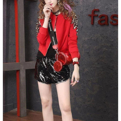 Red Sequins Beaded Jacket Harajuku Fashion Outerwear #JU2843-Juku Store