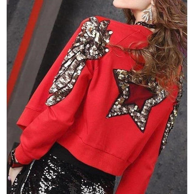 Red Sequins Beaded Jacket Harajuku Fashion Outerwear #JU2843-XXL-Juku Store