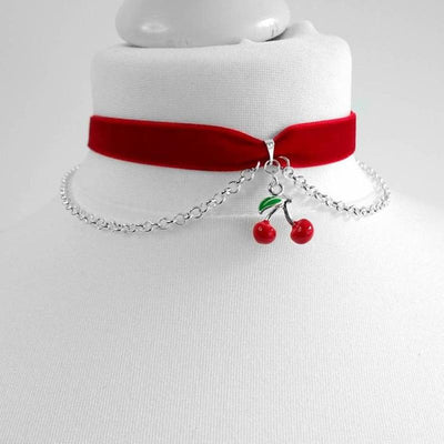 Red Velvet Cherry Choker Kawaii Accessory #JU3071-Juku Store