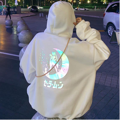 Reflective Oversized Sailor Moon Hoodie Kawaii Sweatshirt #JU2623-White-M-Juku Store