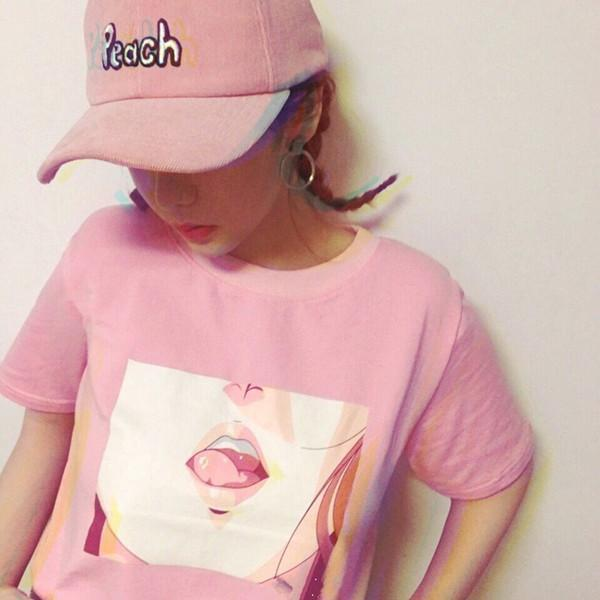 Retro Aesthetic Menhera Cute Anime Lips T-Shirt #JU1975-Juku Store
