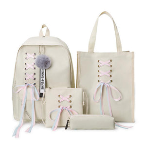 Ribbon Bow Canvas School Backpack 4 Piece Set [4 Colors] #JU2360-Beige-Juku Store