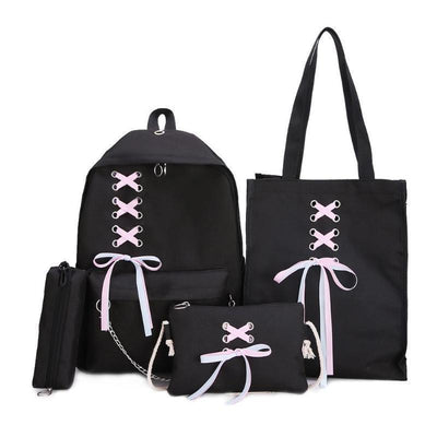 Ribbon Bow Canvas School Backpack 4 Piece Set [4 Colors] #JU2360-Black-Juku Store
