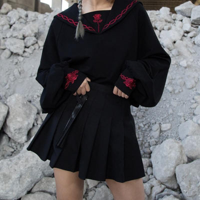 Rose Embroidery Sailor Collar Sweatshirt Gothic Outerwear #JU2758-Juku Store